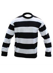 Kids Boys Unisex Black & White Stripe Knitted Book Week Jumper Size 7-12 Years
