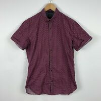 Industrie Mens Button Up Shirt Size Small Short Sleeve Wine Burgundy