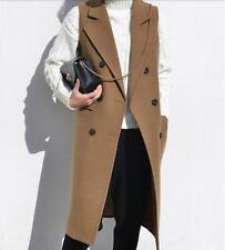 2017 Women Sleeveless Jacket Wool Blend Trench Coat Waistcoat Long Vest Suits