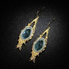 Ohrringe Art Déco Tropf blau Fringe Metall retro vintage Barock aa 7