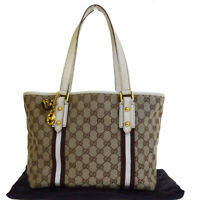 Authentic GUCCI GG Pattern Sherry Shoulder Bag Canvas Leather Brown Italy 30E277