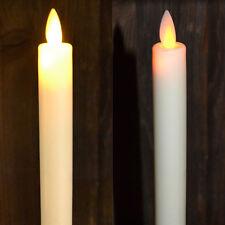 LED Echtwachs Stabkerze bewegliche Flamme 5 Std.Timer elfenbein  Kerzenleuchter