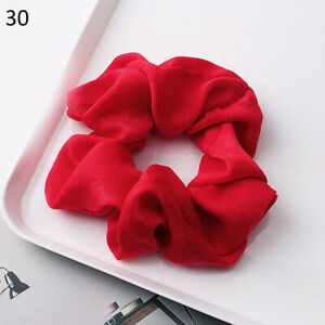 1PC New Red Silky Satin Solid Hair Ring Elastic Hair Bands Ponytail Hair Rope