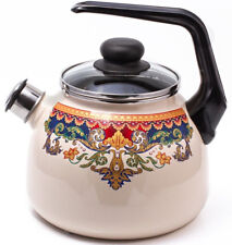 Enameled Steel Kettle w/ Whistle Top Quality! Gas Electric Induction OK! 3.2 qt