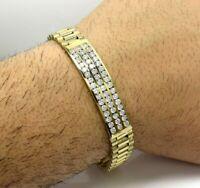 1.65 Ct Round Sim Diamond Men's Presidential Bracelet in 14K Yellow Gold Plated
