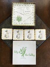 Vintage Midcentury Barware Lily of the Valley Napkins Puppy Coasters England