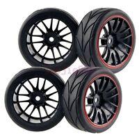 4PCS RC 1:10 On-Road Car Foam lines Rubber Tyres Tires & Wheel Rim 9068-6081
