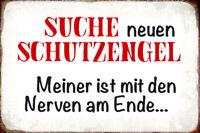 Suche neuen Schutzengel Blechschild Schild gewölbt Metal Tin Sign 20 x 30 cm