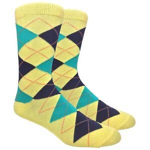 Argyle Premium Mid-Calf Cotton Mens Groomsmen Dress and Trouser Socks, 2 Pairs