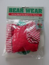 """Bear Wear Elf Outfit New Overalls Scarf Shirt Socks Hat Clothes Christmas 12"""""""
