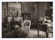 PHOTO ANCIENNE Cheminée Intérieur Miroir Canapé Rose Bureau Siège Vers 1900 Vase