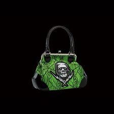 Rock Rebel OFFICIAL LICENSED UNIVERSALE Frankenstein pizzo Kisslock Borsetta di colore verde.