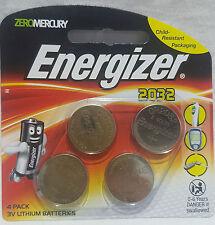 ENERGIZER 2032 4 PACK 3V LITHIUM BATTERIES - ZERO MERCURY - RRP $11.97 - NEW