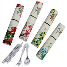 3Pcs/Set New Chinese Style Stainless steel Chopsticks Spoon Tableware Gifts