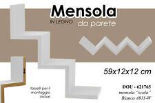MENSOLA DA PARETE IN LEGNO BIANCO A SCALA CON KIT MONTAGGIO 59X12X12 CM 621765