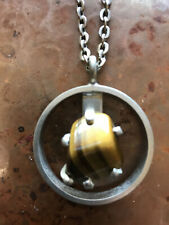 PEWTER GEORGE JENSEN DENMARK PENDANT WITH A MODERN SETTING AND REALLY COOL AMBER