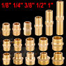 "Brass BSP Nipple Thread Barb Coupler Tube Pipe Connector 1/8"" 1/4 3/8 1/2 3/4 1"""
