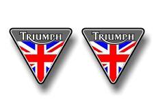 "2 TRIUMPH Motorcycle British Flag 4.5"" Triangle Vinyl Decals Bonneville Stickers"