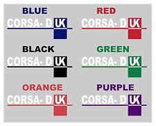 2 x Corsa-D UK, White + Colour, Decal, Sticker, Graphic for car bumper or window