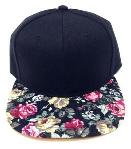 2 TONE BLACK CROWN FLORAL HAWAIIAN PRINT BILL SNAPBACK HAT CAP FLAT BILL FLOWER