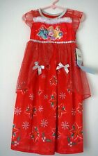 New Toddler Girls' Disney Princess Red Floral Christmas Nightgown Size 3T