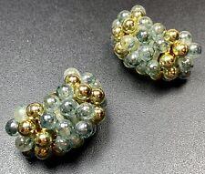 Beaded Hoops Gold Tone Vintage Clip Earrings Large 1.5�