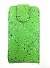 GREEN FASHION DIAMOND BLING FLIP CASE FOR SAMSUNG GALAXY ACE S5830 (2011) UK