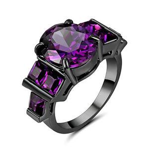 6.7ct Oval Purple Amethyst Wedding Engagement Ring 10KT Black Gold Filled Size 7