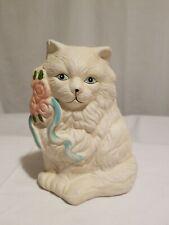 Vintage Mini White Kitten Cat Bank Pottery Figurine Pottery Terra Cotta Clay