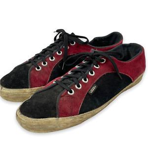 Vintage 90's USA VANS Black Red Suede Leather Skate Skateboarding Shoes Sneakers