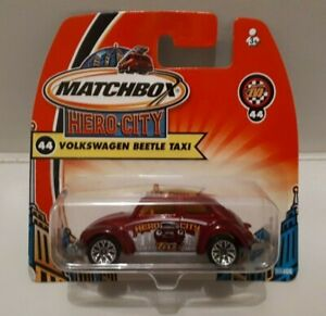 Matchbox Hero City Volkswagen Beetle Taxi #44 Toy Car 2003 Sealed Brand New