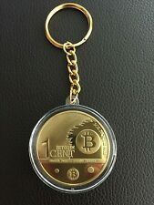 24k Gold Plated one Bit coin cent Keychain, BTC Key Rings Novelty Coin