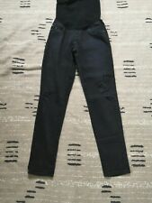 Adriano Goldschmied Maternity Denim Black Jeans Belly Band Factory Distressed 30