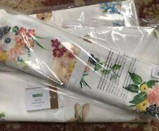 Pottery Barn Floral Bunny Table Runner 18x108 Cotton Linen Spring