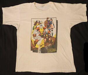 D163. VINTAGE: ORIGINAL X-MEN Large White Graphic T-shirt JIM LEE (1991)
