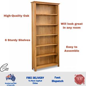 NEW  6-Tier Bookcase Solid Oak Wood