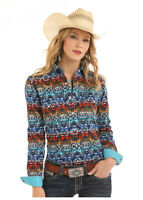 Panhandle Slim Women's Multicolor Tohachi Print Snap Up Western Shirt R4S5044
