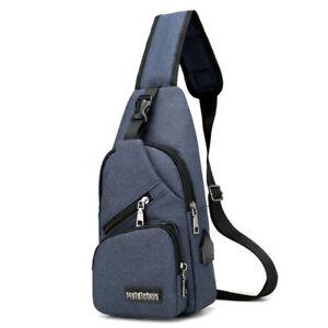 Men Travel Cross Body Messenger Shoulder Back Pack USB Charging Sling Chest Bag