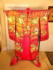 "Vintage Japanese Bridal Kimono Robe Uchikake Wedding Dress Silk ""Woven Flowers"""