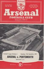 ARSENAL v PORTSMOUTH ~ 17 SEPTEMBER 1955 ~ FOOTBALL PROGRAMME (2)