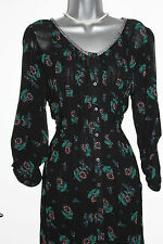 MONSOON Black Floral Print Long Sleeve Shirt Style Tunic Dress size 8 Loose Fit