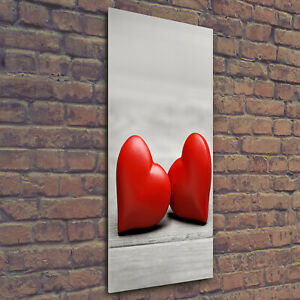 Tulup Acrylic Glass Print Wall Art Image 50x125cm - Hearts on the wood