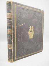 More details for victorian era scrap book album, full leather, gilt & blind tooling. original art