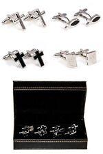 Cross Fish Ichthys Bible 4 Different Pairs Cufflinks Wedding Fancy Gift Box