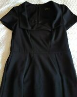 CUE DESIGN BLACK CROSS COLLARED PENCIL DRESS SIZE 10. GREAT CORPORATE WEAR.