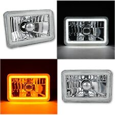 "4x6"" Switchback White / Amber LED Halo DRL Turn Signal Headlight Lamp Bulb Pair"