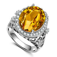 925 Silver Filled Jewelry Oval Cut Yellow Citrine Women Wedding Ring Size 6-10