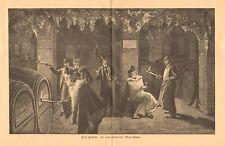 Winery, Wine Cellar, Wine Tasting, London, Vintage 1900 German Antique Art Print