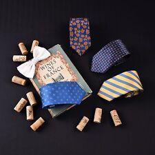 5x Blue Classic Ties 7.5cm Paisley European Striped Neckties Free White Bowtie