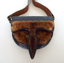 VINTAGE WESTERN STYLE PURSE Buckle Strap Fur Leather Vinyl Cross Body Rockabilly